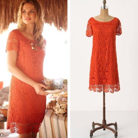 4ba99f753e46 Anthropologie Dresses & Skirts - Anthropologie Horkelia Shift dress orange  lace